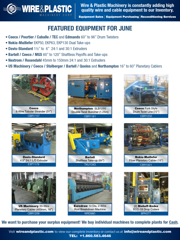 Wire and Plastic Machinery Featured Equipment June 2015 resized 600